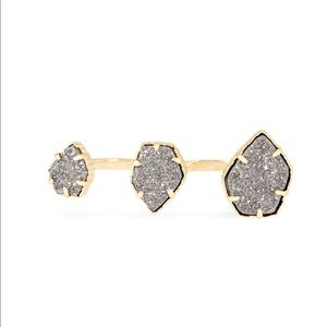 Naomi Gold Double Ring In Platinum Drusy NWT